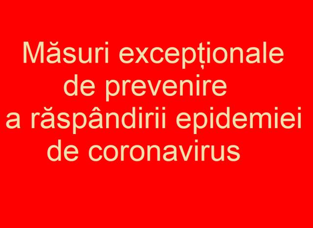 Măsuri prevenire epidemie coronavirus